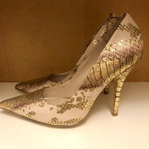 Also shoe metallic snake print pointed toe pump